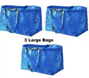 3 IKEA Frakta Large Shopping Bag Reusable Laundry Tote Storage Grocery 19 Gal