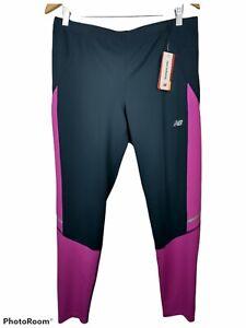 New Balance Womens Accelerate Tights XL Running Reflect Ankle Zips Azalea NWT