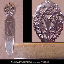Historical Tiffany Sterling Silver Presentation Bookmark Pres Van Buren Relative