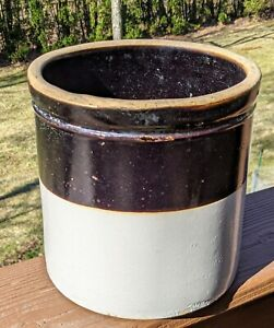 Old Stoneware Crock. Brown & White, Pottery, Vintage Crock Stone 7.5 inches