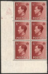 1936 1½d Red Brown A36 Cylinder 2 no dot Block of 6 MOUNTED MINT V87822