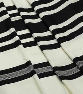 """Wool Tallit Prayer Shawl Shabbat Black Size 55"""" L X 71"""" W"""