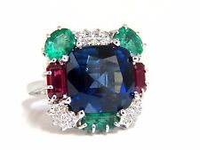 18ct Lab Sapphire Natural Emerald Ruby Diamonds Ring 18kt.