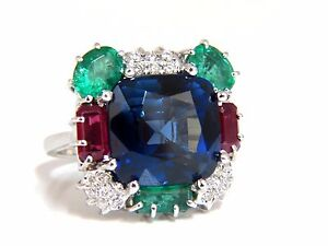 18ct Lab Sapphire Natural Emerald Ruby Diamonds Ring 18kt.+