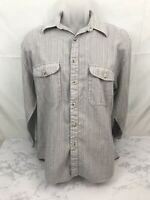 AXXA Long Sleeve Button Down Shirt Mens M Gray Striped Western Comfortable N
