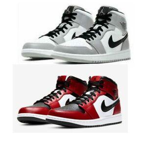 Nike Air Jordan 1 Mid GS Banned Black Red Schwarz Rot & Smoke Gray Ungetragen