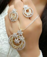 India Bollywood Fashion Pendant Love AD Stone Gold Tone Jewelry Gift Women Party