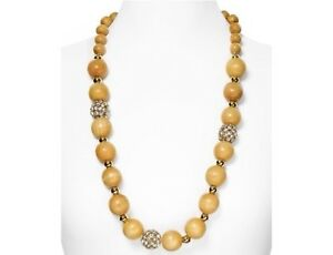 Kate Spade Wood You Be Mine Necklace NWT Large Wooden Pearls Pave & Gold Accents