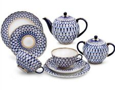 Russian Imperial Lomonosov Porcelain Tea set Cobalt Net 20 pc Authentic Original