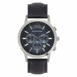 Mens Emporio Armani AR2473 Renato Blue Genuine Leather Chronograph Watch