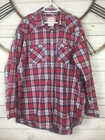 ROUGH STOCK Panhandle Slim Red Combo Plaid Western Shirt Pearl Snaps Size XXL