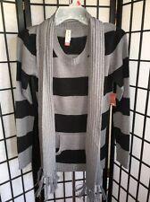 No Boundaries Size Junior Small 3-5 Black & Silver Striped Sweater W/Scarf NWT