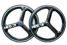 HED 3 Tri Spoke Wheelset Clincher Carbon/ Alloy Rim Brake 700c Wheels Preowned