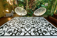 200x270cm GATSBY Outdoor Plastic Rug/Mat BLACK/WHITE Waterproof