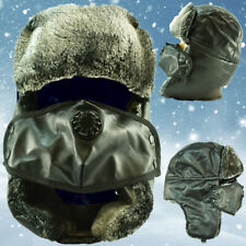 Winter Leather Trapper Hats Face Mask Fur Warm Aviator Russian Trooper Ski Caps
