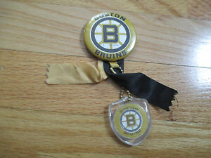 "1970 BOSTON BRUINS 2.25"" Button w/ Ribbons & Key Chain BOBBY ORR PHIL ESPOSITO"