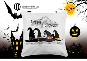 Halloween Personalised Witches Hat / Pumpkins Cushion with Filled Inner