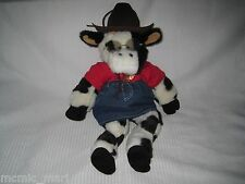 """Build A Bear 19"""" COW with Outfit Bell Glasses Cowboy Hat Black & White Plush"""
