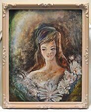 Estate Found Vintage Signed Brehm Flower Girl Portrait Oil Painting on Board