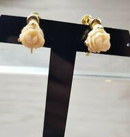 Vintage 1960s Goldette Peach Rose earrings-signed clip on screw back Kawaii