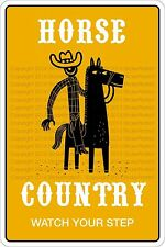 """*Aluminum* Horse Country Watch Your Step 8""""x12"""" Metal Novelty Sign  NS 361"""
