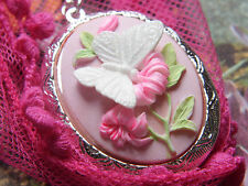 CHRISTMAS  925 PLT SILVER PINK PHOTO BUTTERFLY Cameo Cameo Necklace Locket BOX