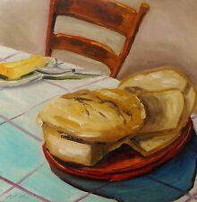 ORIGINAL BREAD Still Life OIL Painting  JMW Art John Williams Impressionism