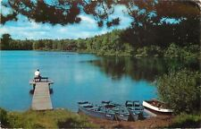 Catskill Mountain New York~Man on Bench @ End of Dock~Rowboat~1950s-1960s