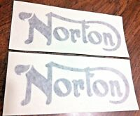 Norton black die cut gas petrol tank transfers, Commando 750 850 1968-75, pair