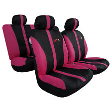 Pink Black GTS Racing Embroidered Sports Poly Cotton Airbag Car Seat Covers