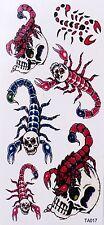 Tatouage Temporaire Scorpions Nouveau Design paillettes 6 Stickers Waterproof
