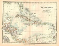 1911 LARGE VICTORIAN MAP ~ WEST INDIA ISLANDS & CENTRAL AMERICA CUBA JAMAICA etc