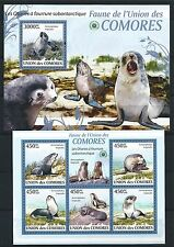 COMORES KOMOREN 2009 MINI SHEET BLOCK SET FAUNA MiNr: 2435 - 39, 528 MARINE LIFE