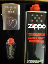 Zippo Feuerzeug Chrome mit Gravur Herzen und Namen Geschenk Set - Gift Set