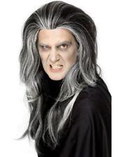 LUNGO gothic vampiro PARRUCCA NERO GRIGIO UOMO Horror Halloween Per Costume