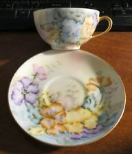 6 Thomas Bavaria Hand Painted Cups & saucers- pansy floral pattern EXC!!