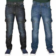 Enzo Mens Cargo Combat Jeans Button Pocket Denim Washed Trouser Pants All Waist