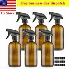 6 Pack Amber Glass Spray Bottles 16oz Brown With Trigger Sprayers And Caps