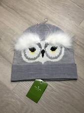 Kate Spade Owl Knit Who Me Beanie Heather Grey