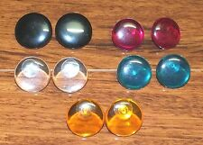 *Lot of 5* Large Plastic Circular Stud Back Earrings Multi-Colored / Clear Set!