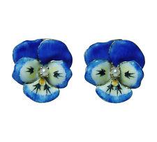 Art Nouveau Enamel Pansy Flower Pierced Large Earrings 14K Gold Estate Jewelry