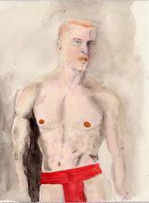 watercolor NUDE RED JOCK Esteban Realism Signed 1/5/50 FREE SHIP