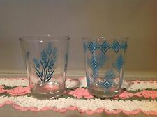Vintage Drinking Cocktail Glasses Two Turqouise