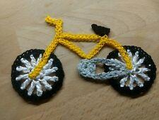 Häkel-Applikation Fahrad Bike Rad Unikat Dawanda Farbenmix gelb