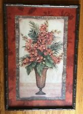 """Home Interiors Tropical Orchids Prints/Picture Bamboo Look Wood Frame 26""""x38"""""""