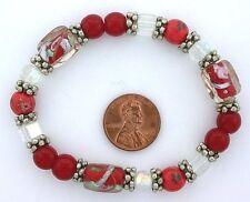 Glass Pewter Stretch Bracelet ms24 Orange Red Clear Floral Flower Lampwork