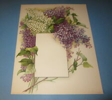 Old Vintage 1910 Antique VICTORIAN PRINT LILAC FLOWERS w Frame for Menu or Photo