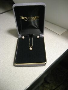 Vintage pearl earrings, pearl & diamond pendant on chain, all 14k yellow gold