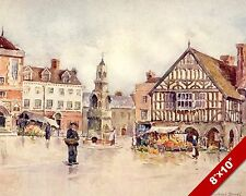 SAFFRON WALDEN MARKET ESSEX ENGLAND ENGLISH LANDSCAPE ART PAINTING CANVAS PRINT