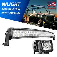 "Nilight 42""Inch 240W LED Work Light Bar +2x 18W Pods Off-Road Fog Driving Lights"
